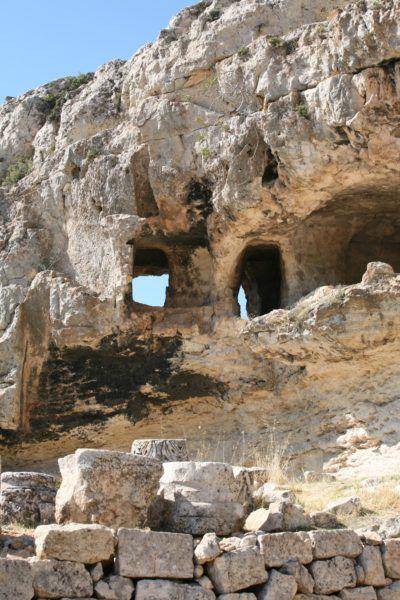 Caves surrounding Alahan monastery.