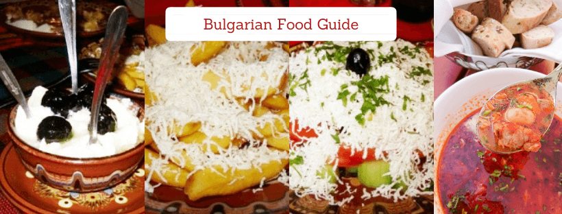 This photo of the Bulgarian Food Guide shows 4 photos of traditional dishes: yogurt, french fries with cheese, shopska salad, and bean soup.
