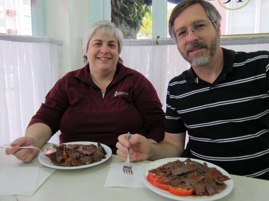 Corinne and Jim eating a Turkish favorite - Iskender Kebab