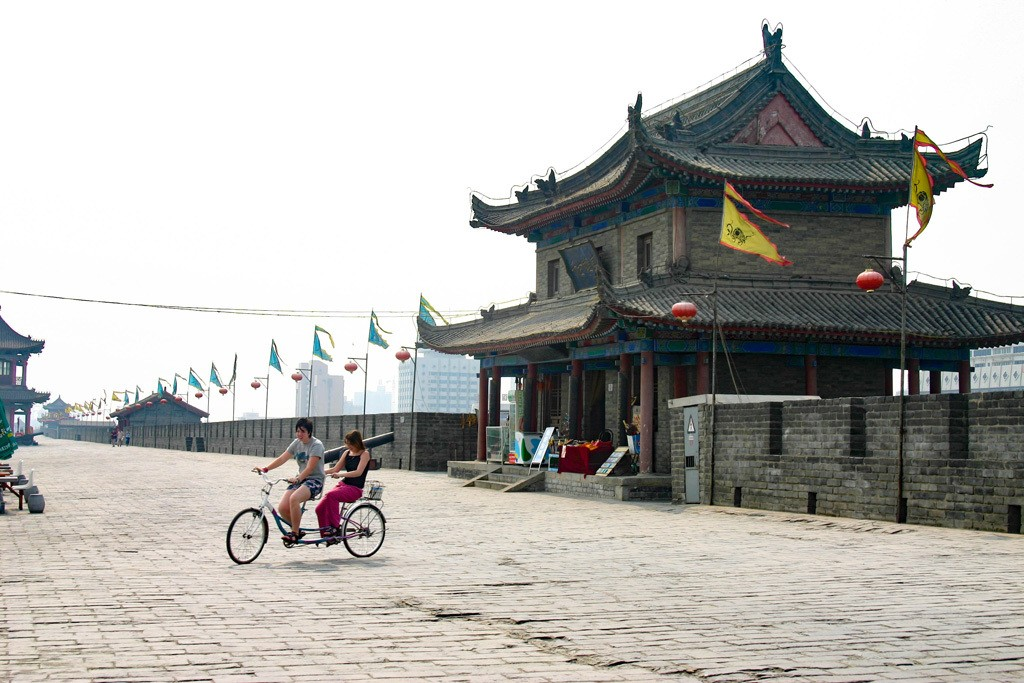 Renting a bike and riding on the fortress walls is definitely top on the list of what to do in Xian.