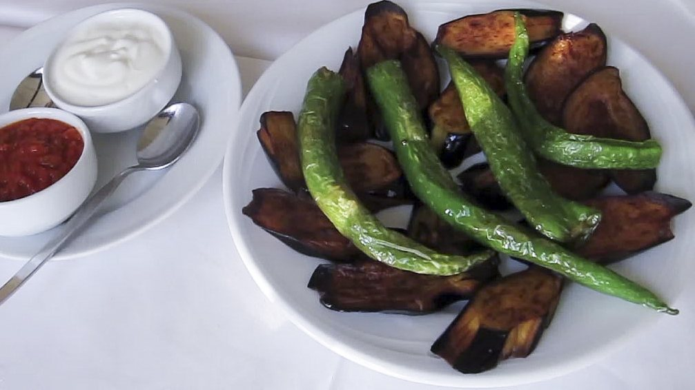 Recipe Fried Eggplant and Peppers with Sauce