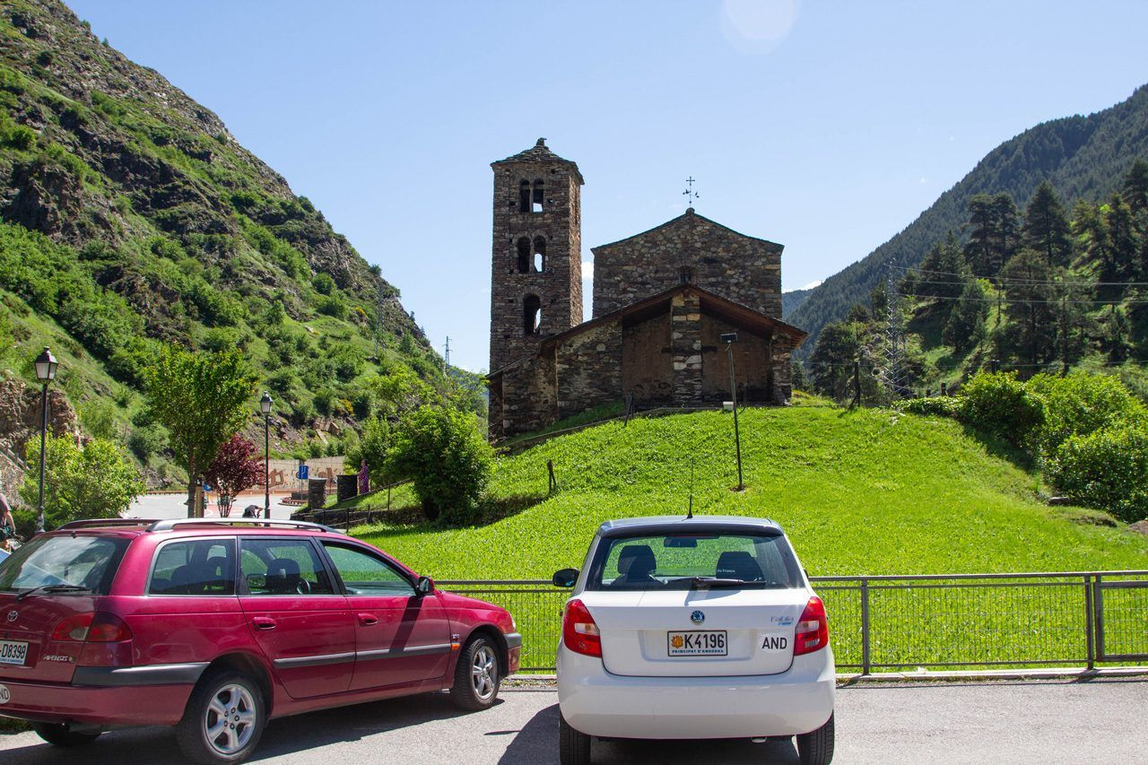 Church and cars with Andorran plates