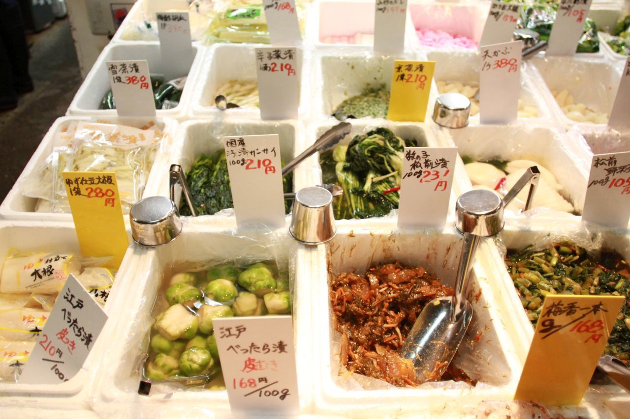 There's more to fish at the Outer Market of Tsukiju fish market. Here are pickled vegetables.