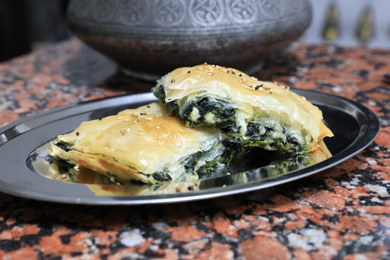 Homemade spinach borek recipe shown here as a finished product. It's my favorite of all borek recipes.