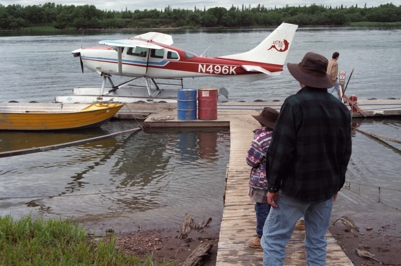 Getting on a float plane to get to Brooks Lodge.