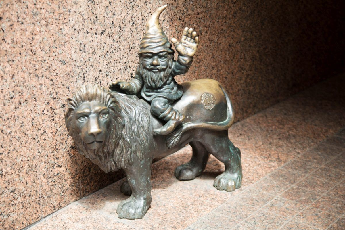 Wroclaw - Gnomes everywhere...this one riding and waving from the back of a lion.
