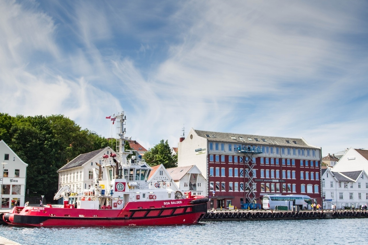 A red boat docked in Stavanger, Norway