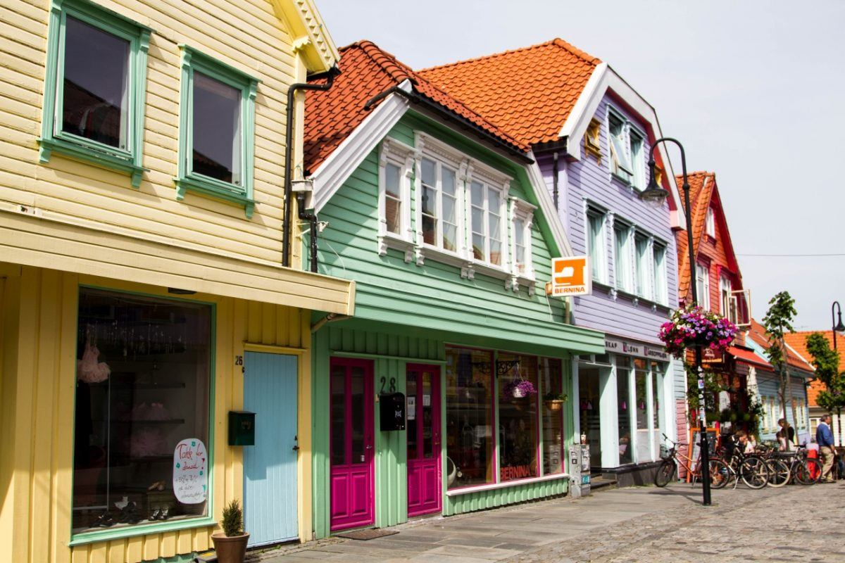 Pastel colored houses in Stavanger Torget.