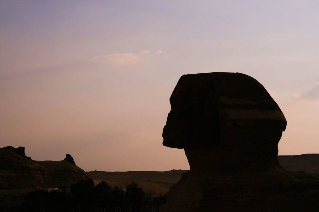 Silhouette of the Sphinx in Giza.