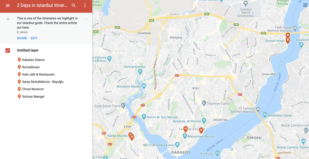 Map of 2 Days in Istanbul Itinerary.