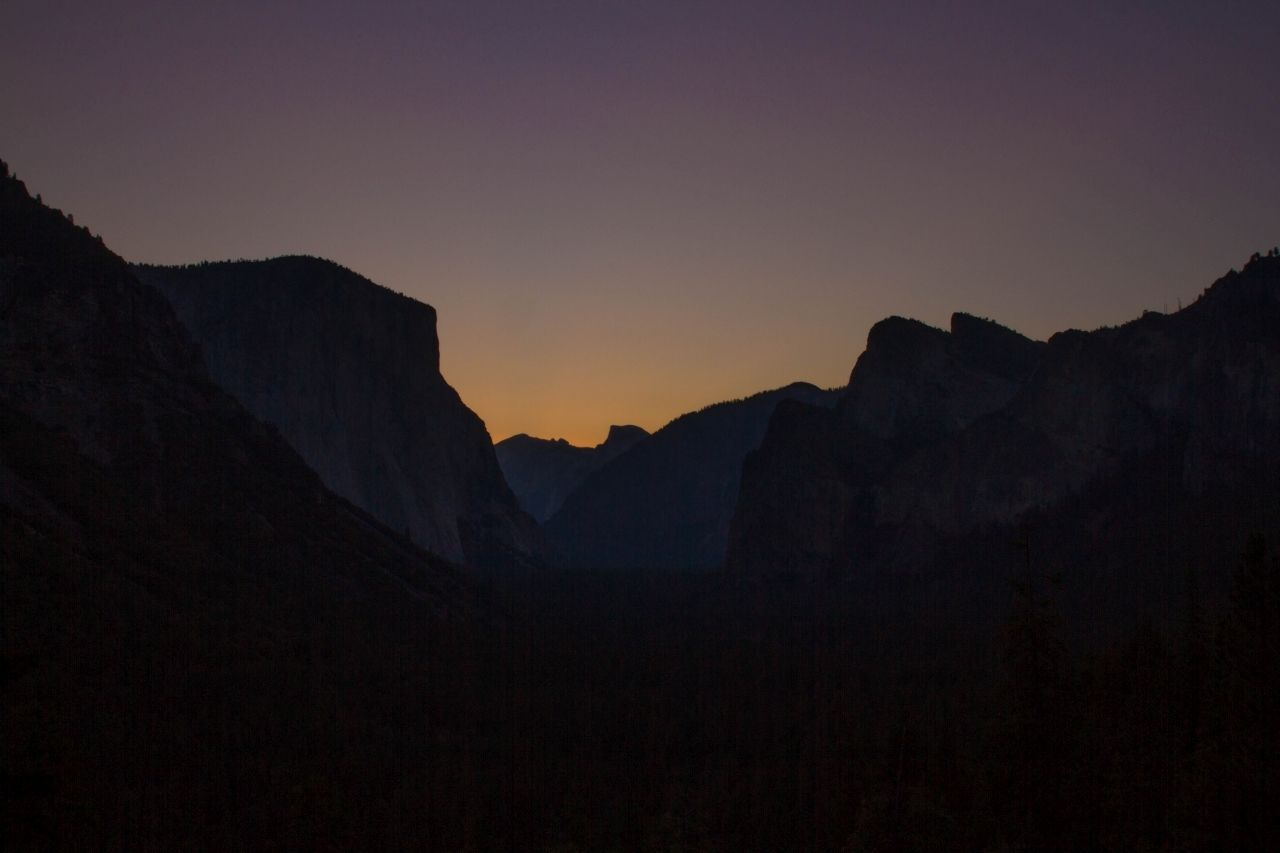 Sunset and evening glow from Yosemite Valley