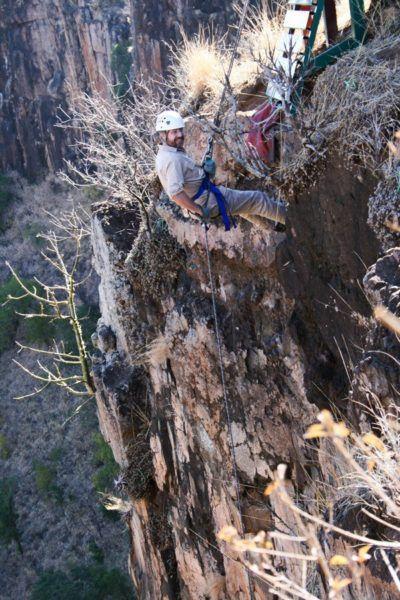 Jim rappelling in Batoka Gorge.