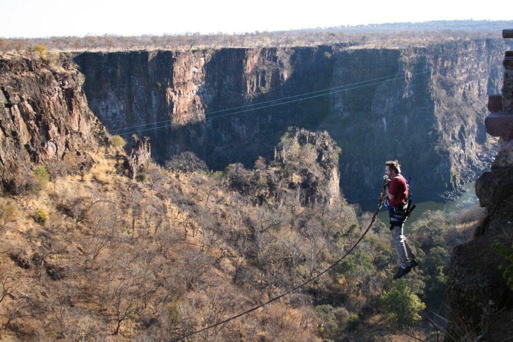 Jim doing the Batoka Gorge Rope Swing.