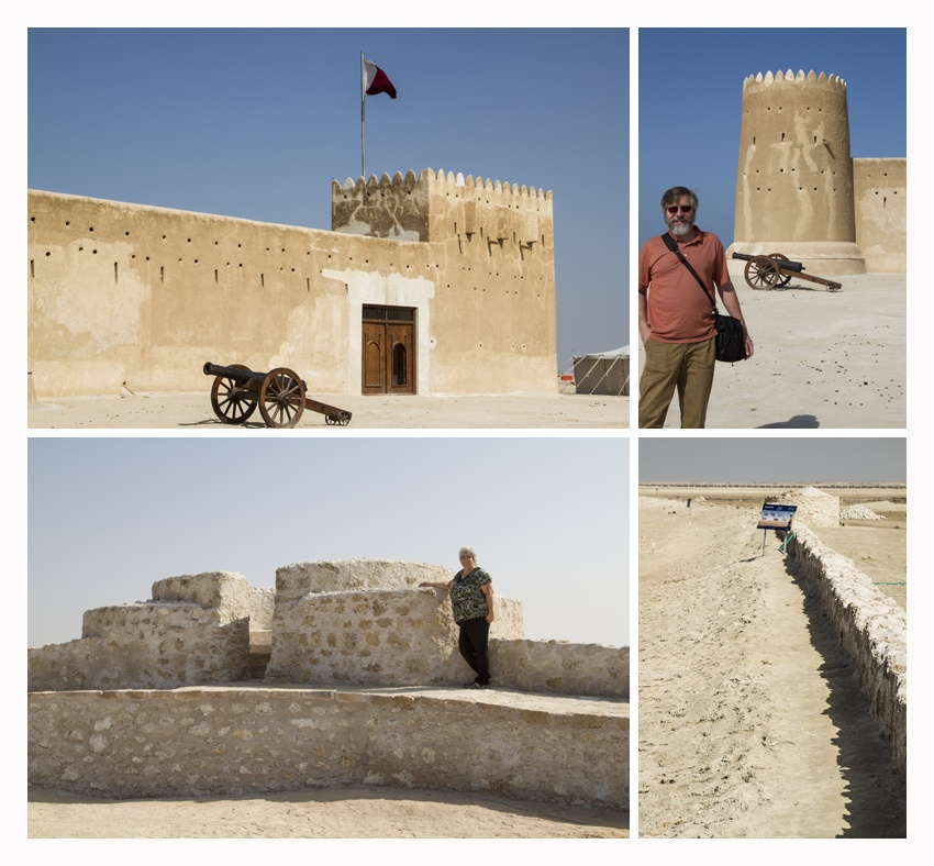 Four photos of Al Zubarah's castle and walls.