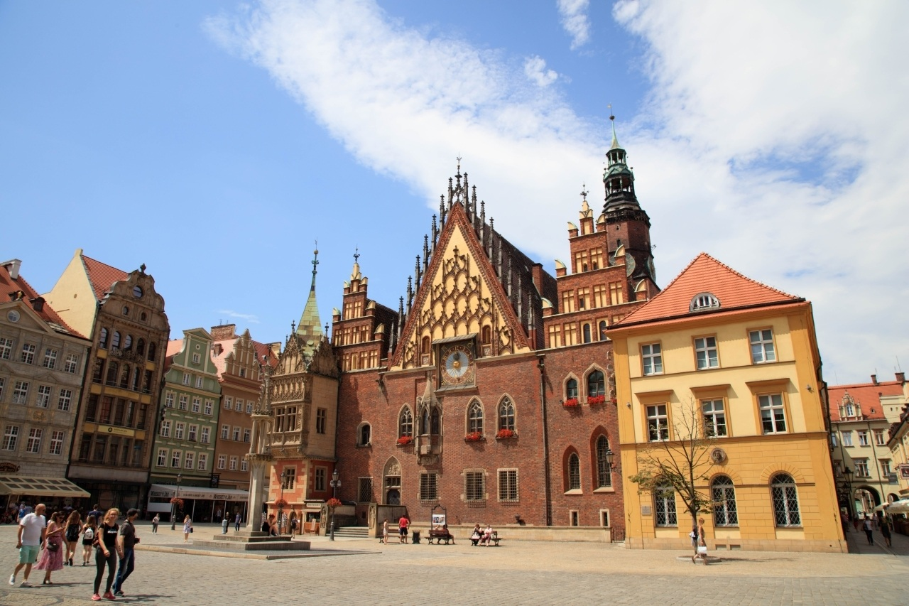Square in front of Wroclaw's Old Town Hall.