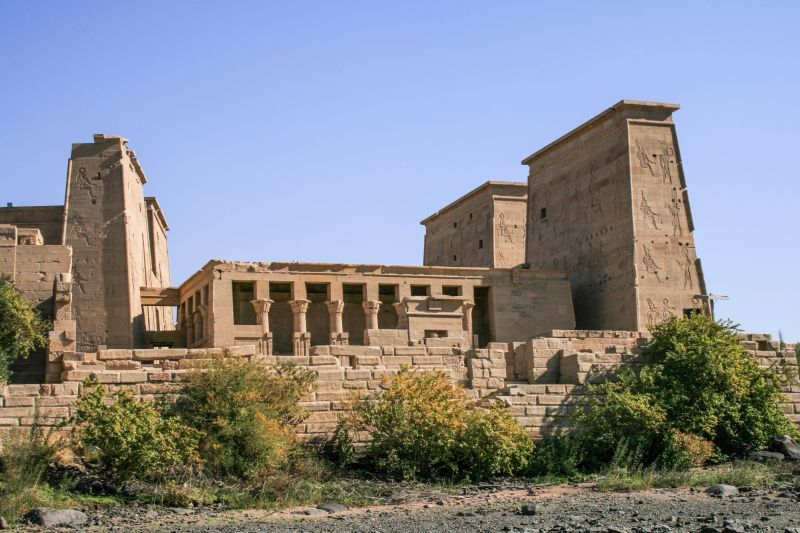 Temple of Philae on an island in the Aswan Dam reservoir Egypt.
