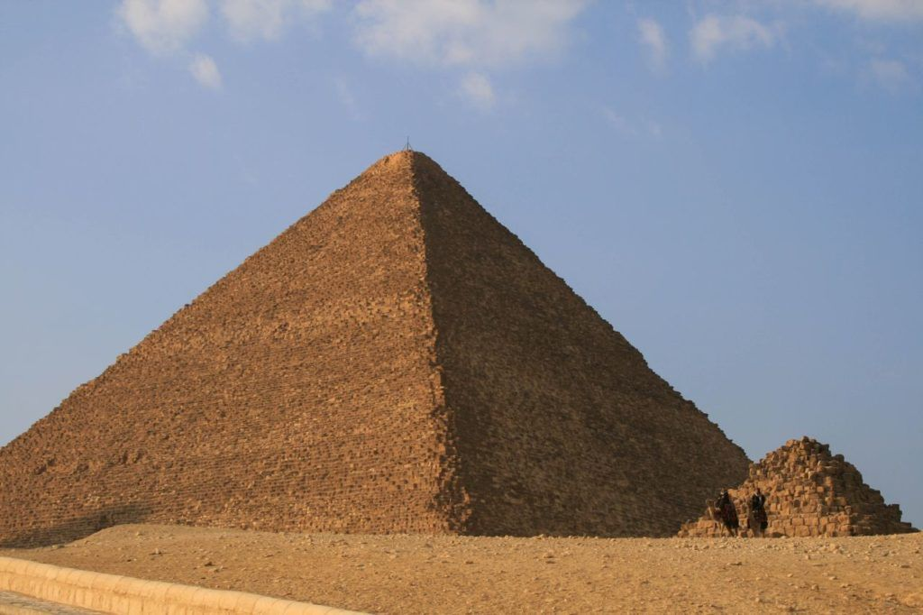 Great Pyramid and one of the Queens pyramids at Giza.