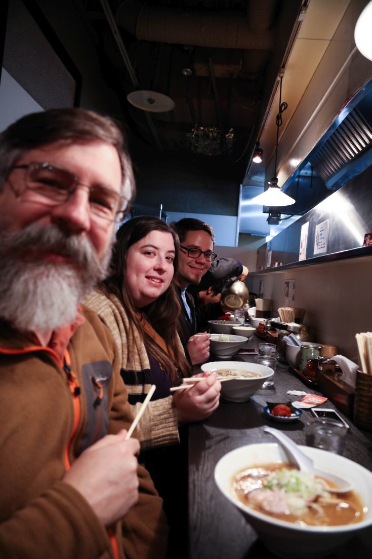 Jim, Erika, Michael eating ramen, one of the most popular Japanese foods for sure.