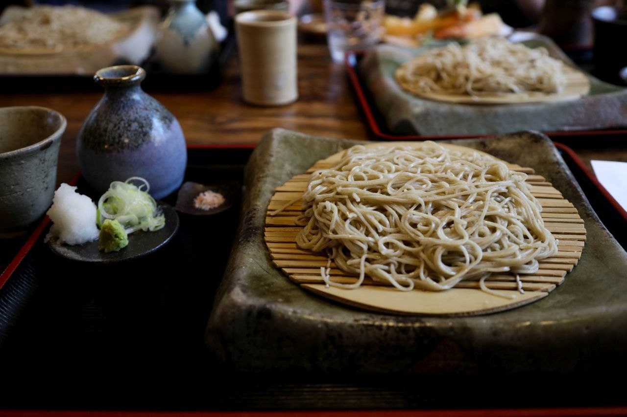 Beautiful soba noodles on stone plates