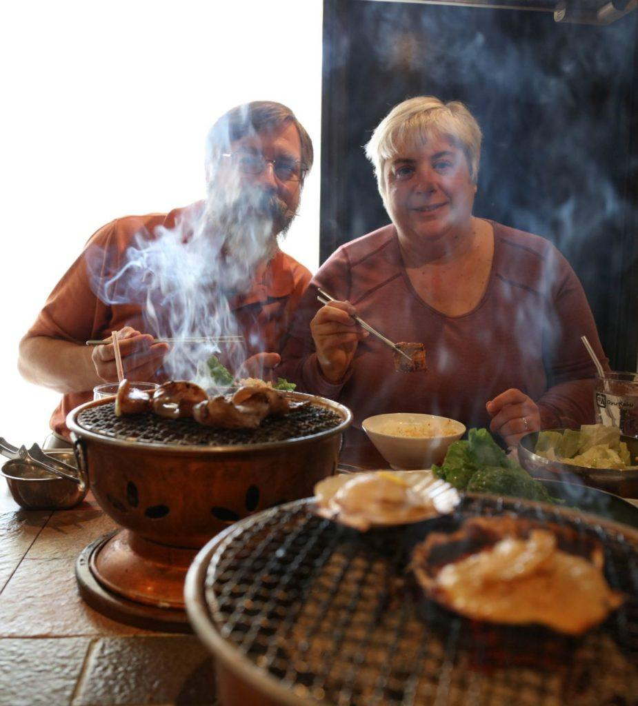 All The Incredible Food We Ate in Japan - Jim and me at a grill restaurant.