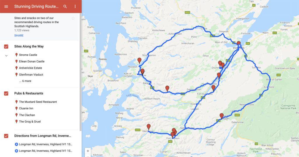 Scotland Road Trip Map.