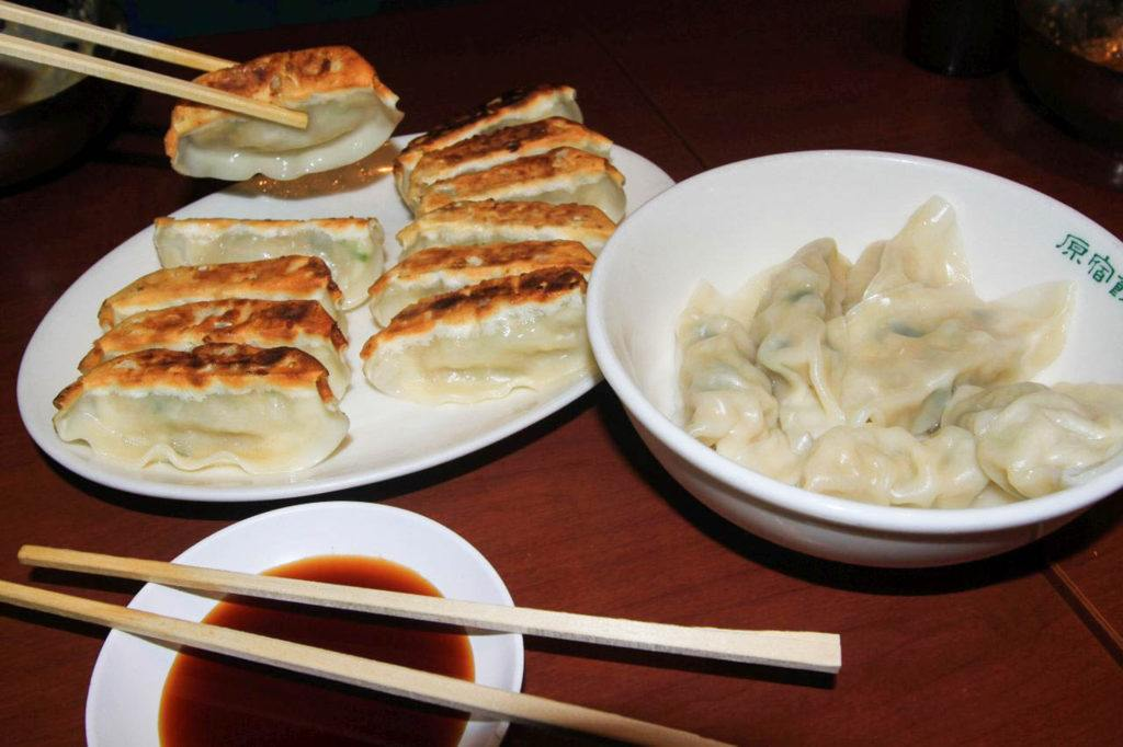 Japanese gyoza, fried and steamed.