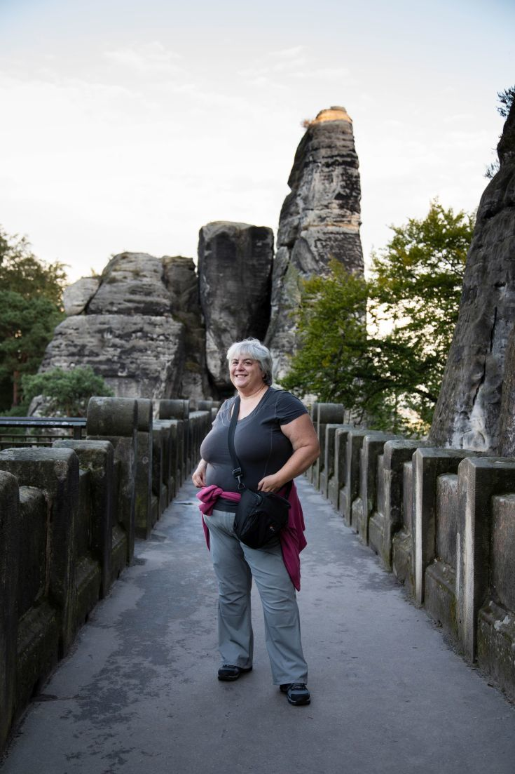 Corinne on Bastei Bridge