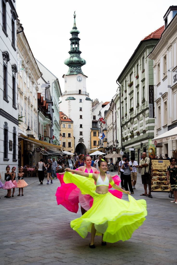Colorful dancers adorn the streets of Bratislava! Click here to find out what you can do in this beautiful city!