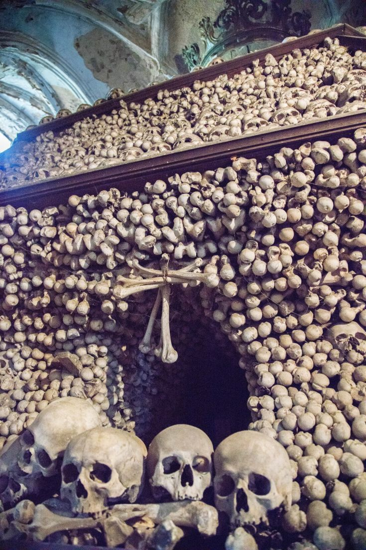 Hundreds of skulls and bones piled up in the Sedlec Bone Church