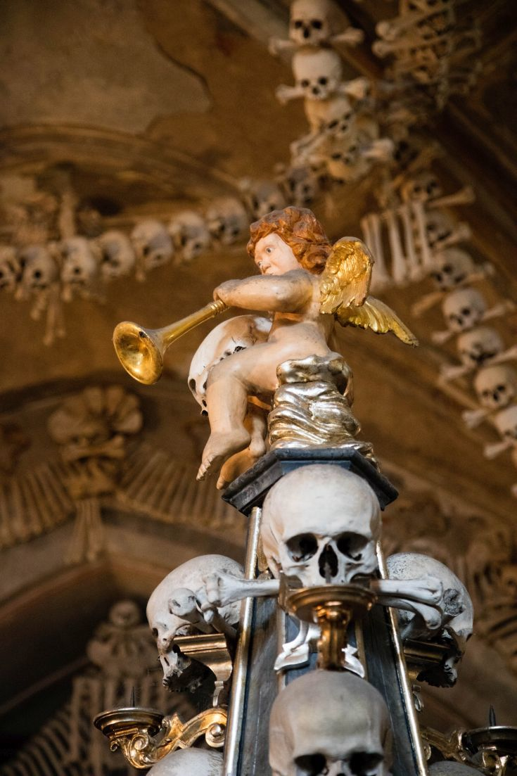 Skulls and skeletons greet you at the Sedlec Bone Church in Kutna Hora
