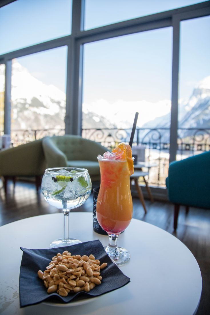 A sundowner with a view in Engleberg, Switerland. Click here to find out what you can do on a winter weekend away.