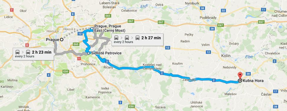 Google Map Prague to Kutna Hora