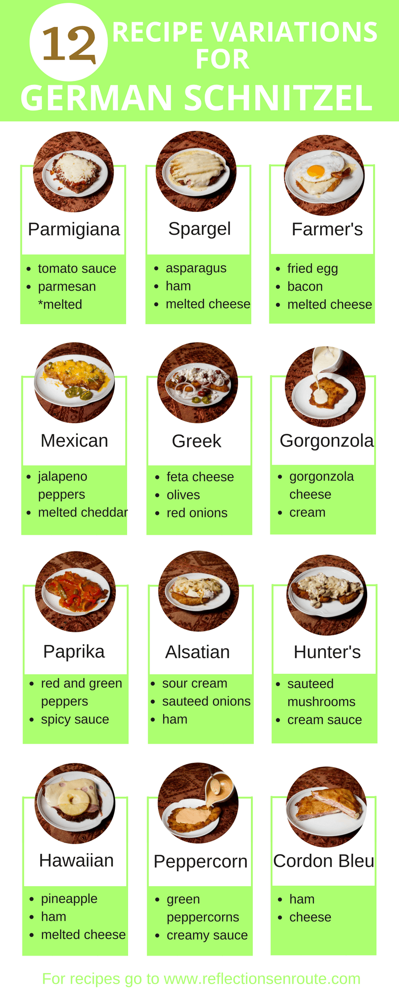 12 Variations to traditional German Schnitzel. It's all about the schnitzel sauce.