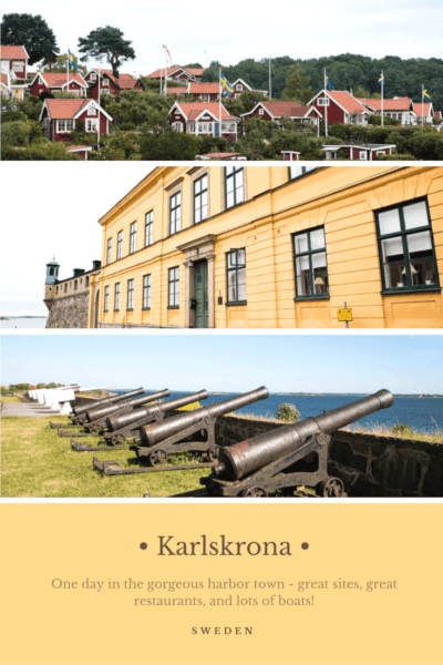 Red and white houses and canons in Karlskrona.