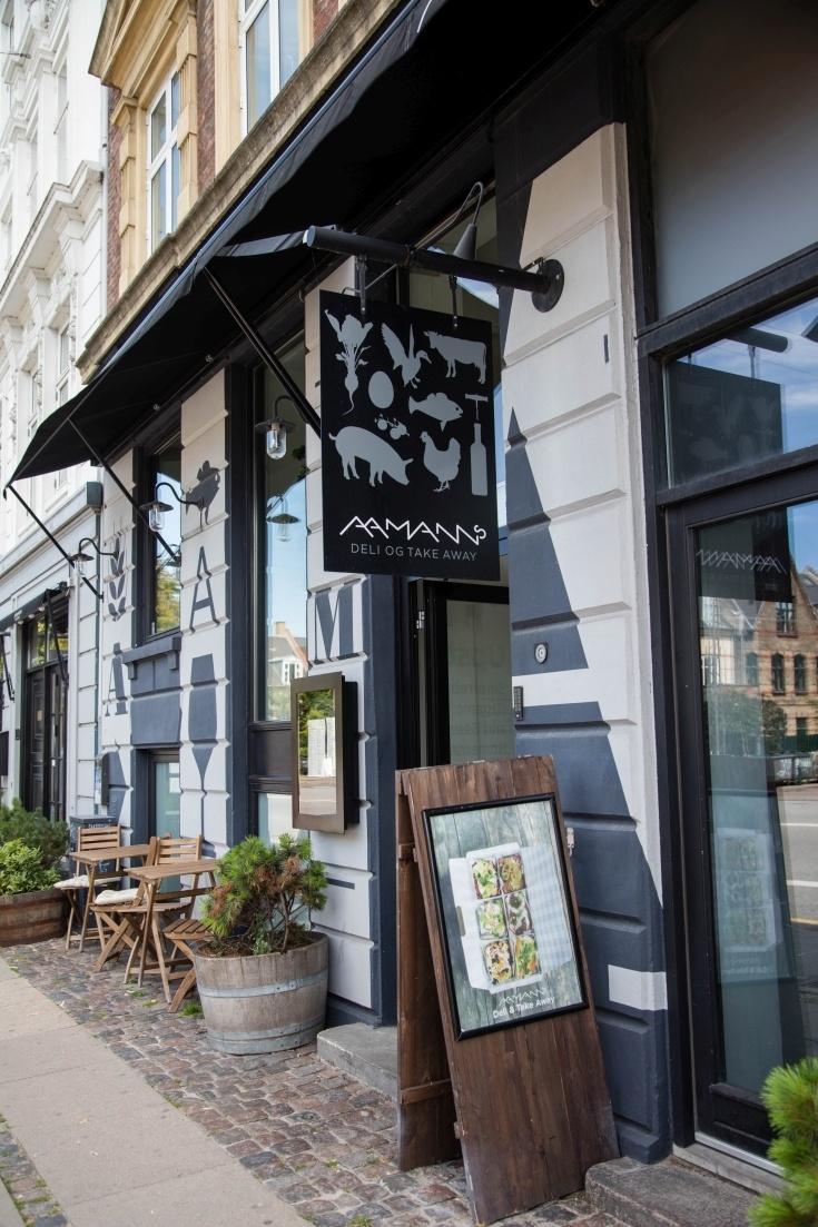 Aaman's Deli front door, one of the best restaurants in Copenhagen.