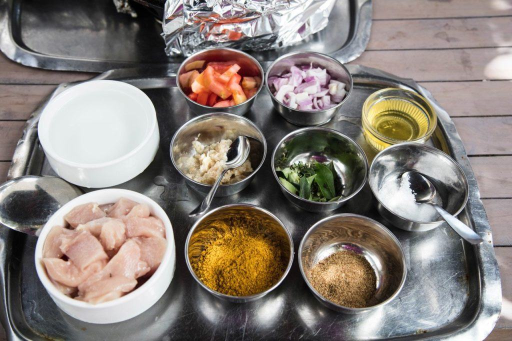 Ingredients, mise en place, for Mauritian curry