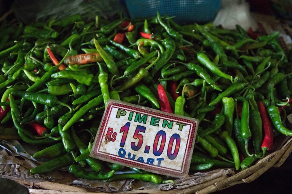 Grown in Mauritius: A basket of peppers for sale