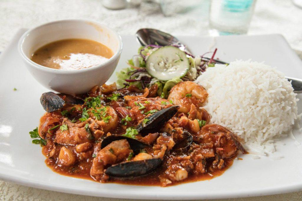 Seafood curry, a Mauritian dish staple