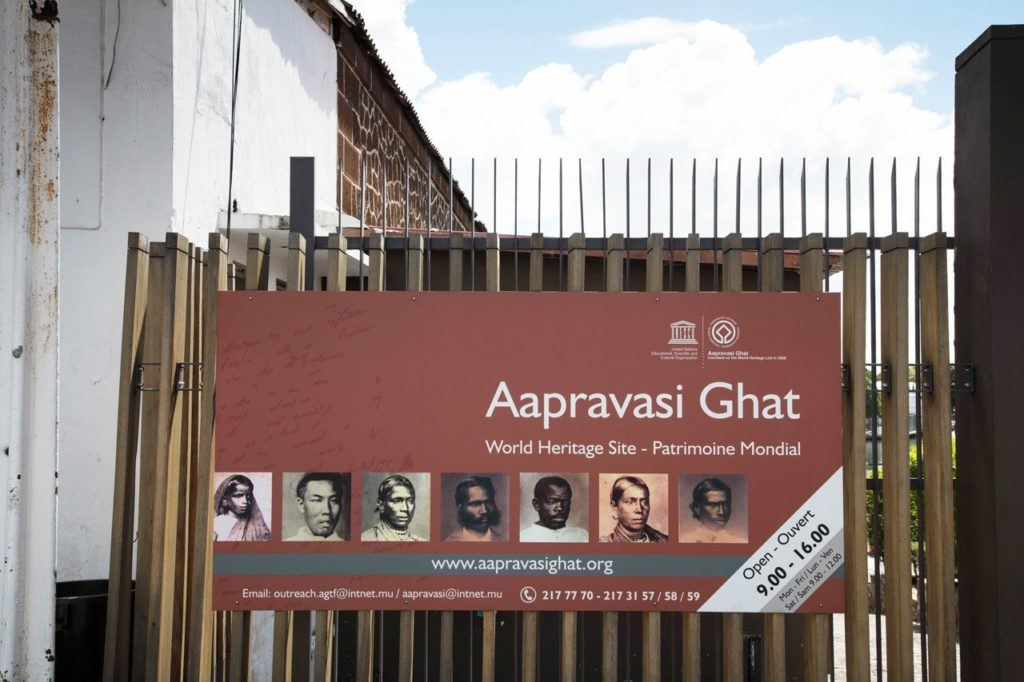 Sign for the Aapravasi Ghat.