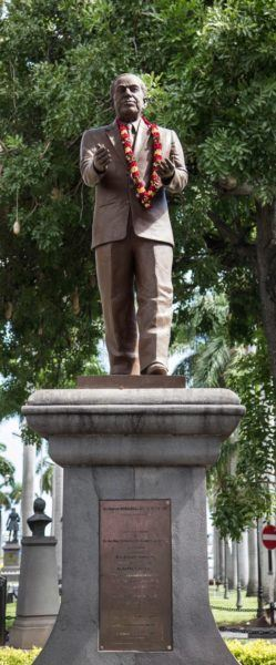 Statue of Sir Boolell on the Place d'Armes Port Louis.