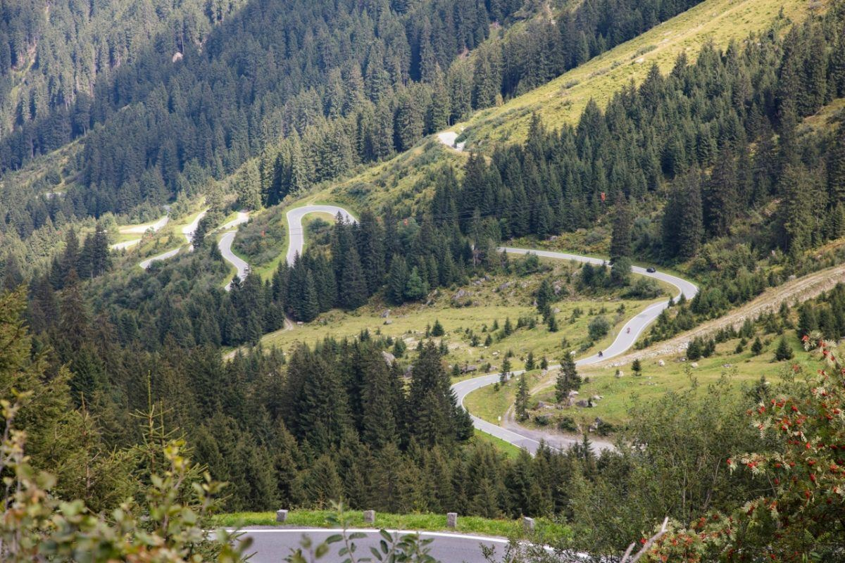 Driving in the best road through the Austrian Alps.