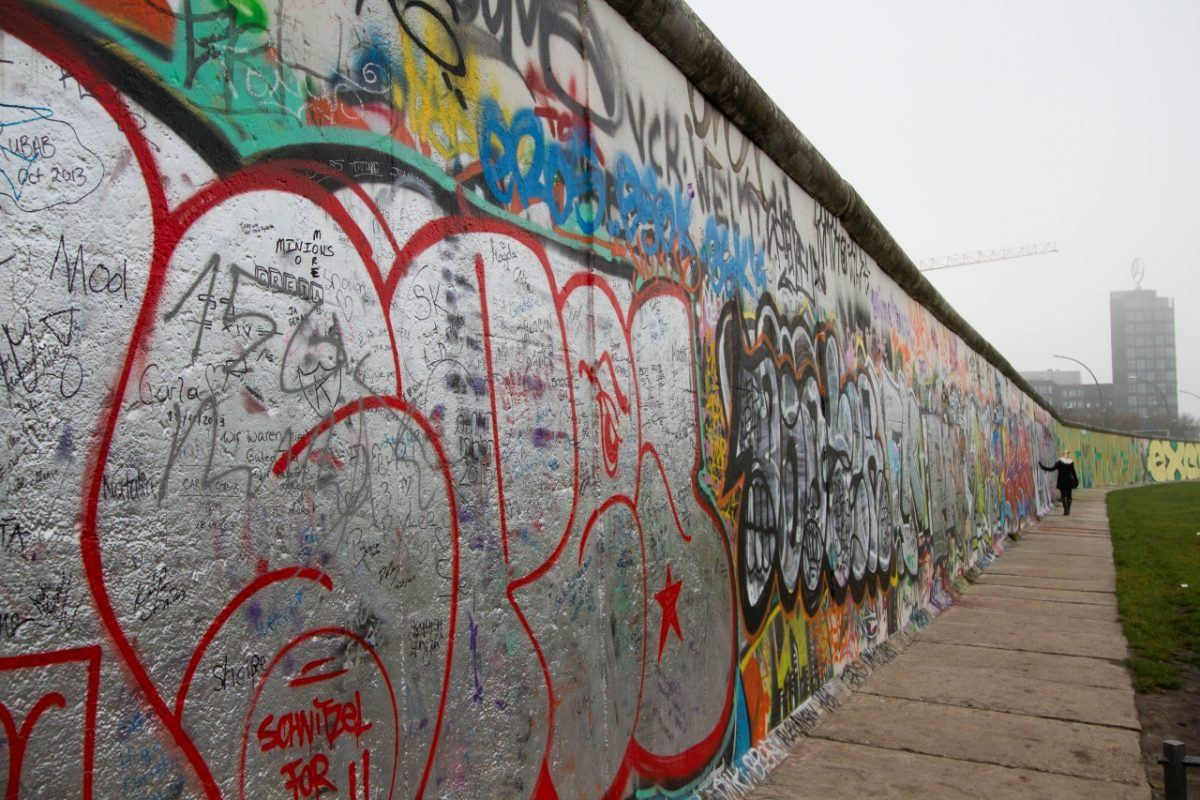 Berlin Wall Murals on a foggy day - an iconic and important part of any Berlin itinerary.