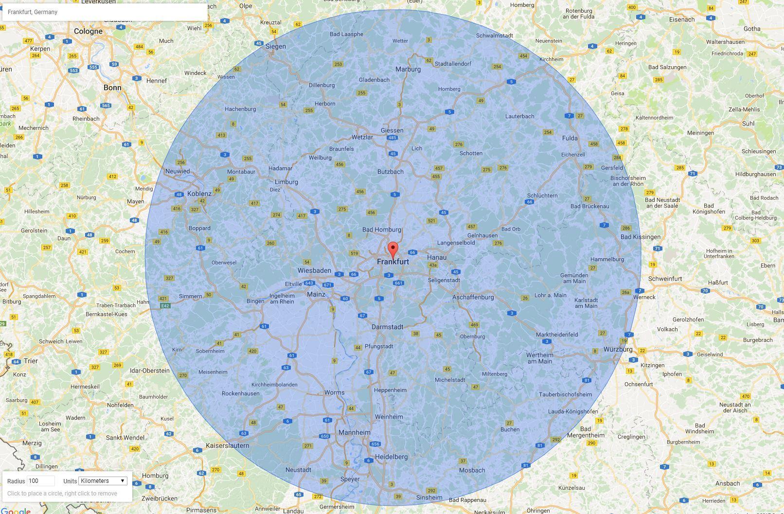 Map with a radius of 100 Km around Frankfurt, Germany