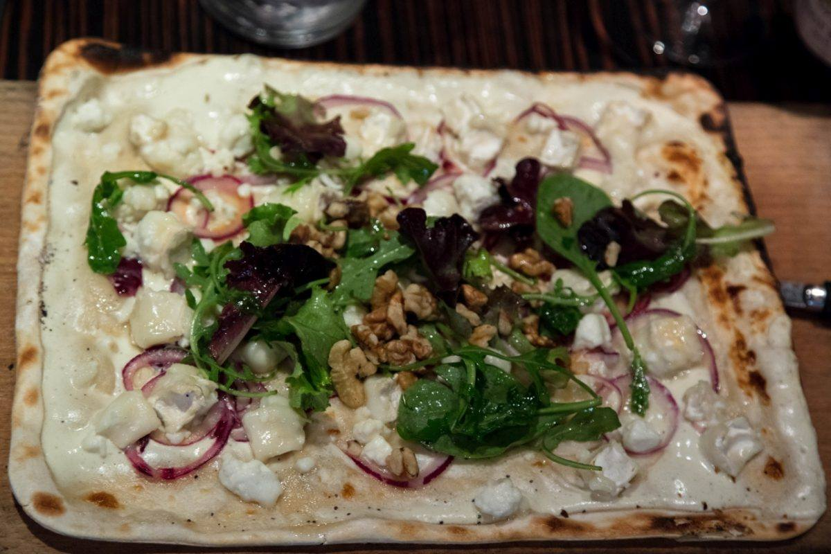 Flammkuechen with goat's cheese.
