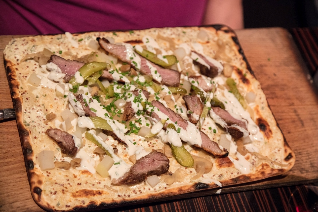 Iberico pork tops this Flammkuechen.