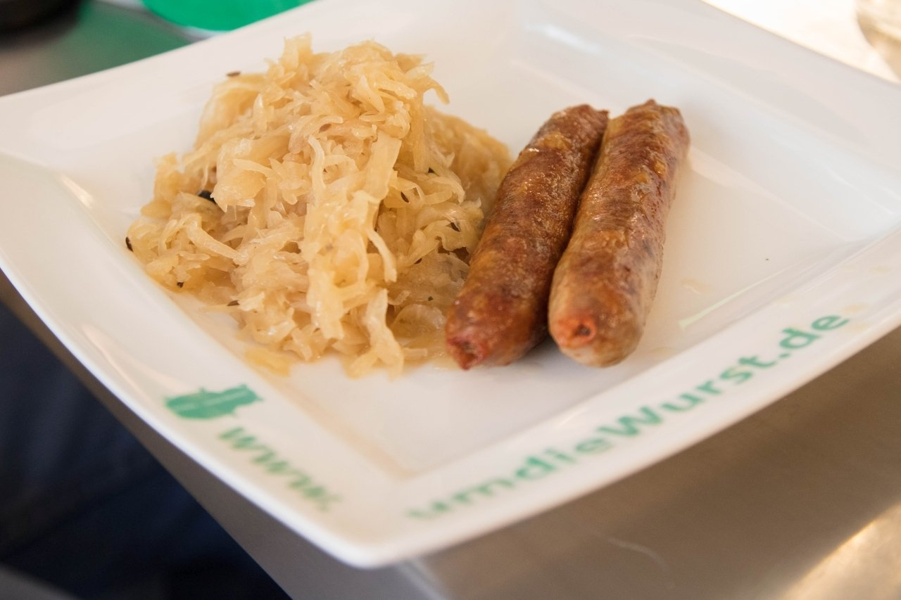Traditional sauerkraut and German bratwurst