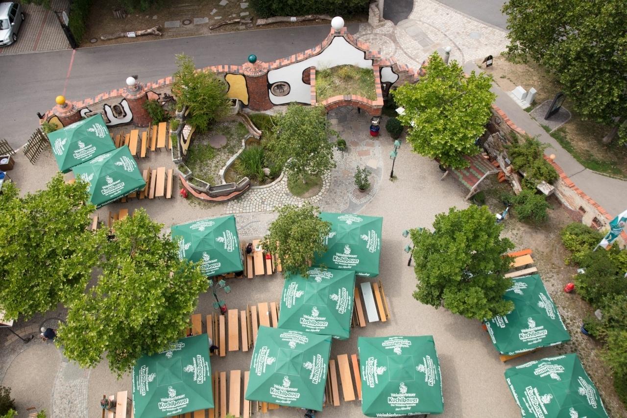 Aerial view of beer garden