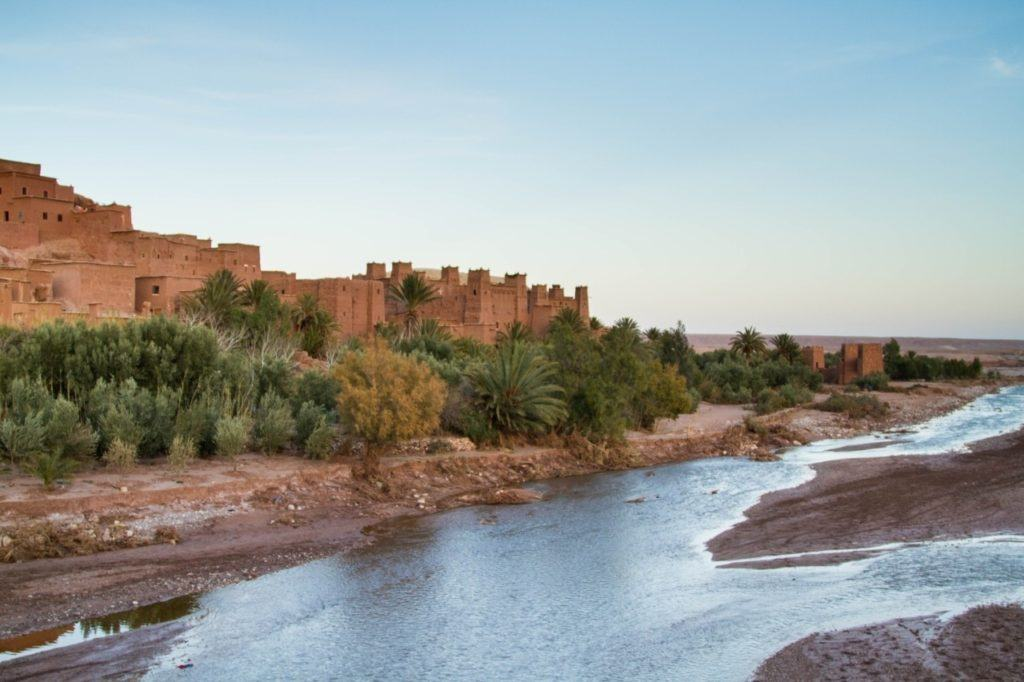 The Ounika River and with the Ksar Ait Benhaddou as the sun is setting in the High Atlas.
