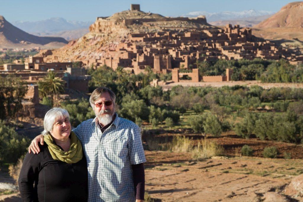 Corinne and Jim posing in front of Ait Benhaddou.