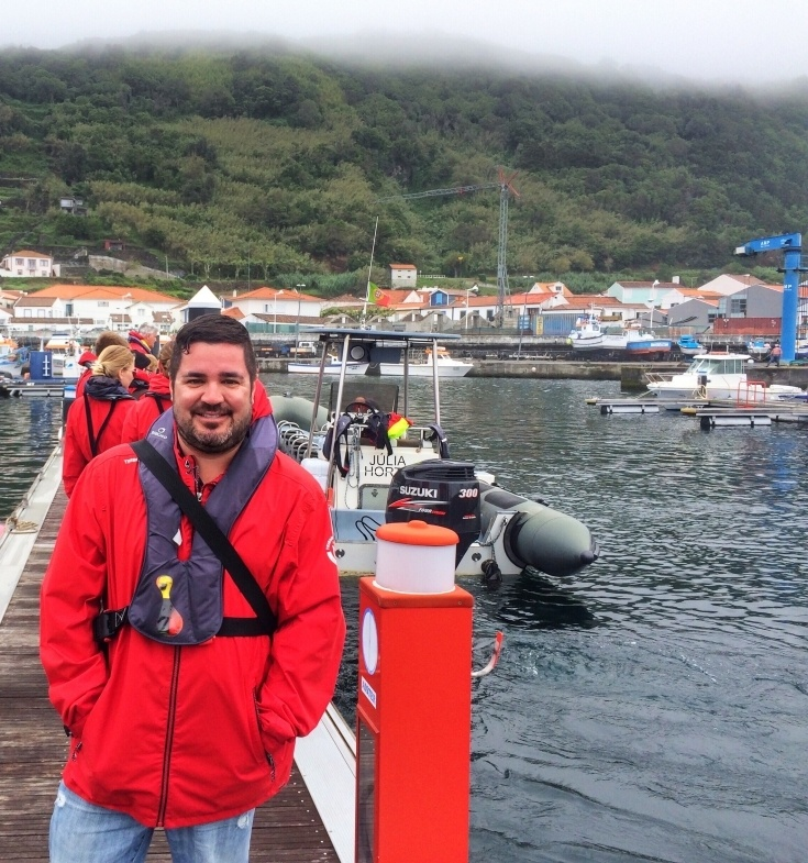 Man in red coat in the Azores